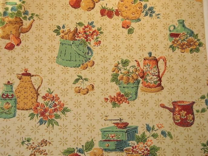 Vintage Wallpaper For Your 50s Kitchen And Bath Another Source Vintage Wallpaper Retro Wallpaper Wallpaper