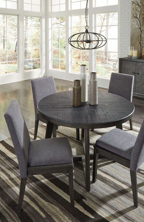 Besteneer Dark Gray 5 Pc Round Drm Table 4 Uph Side Chairs