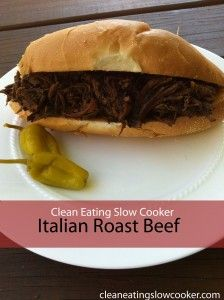Clean Eating Slow Cooker {Crockpot}: Italian Roast Beef Sandwich Recipe. Easy and healthy. Your whole family will love it!