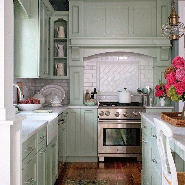Mint green cabinets kitchen decor also kitchens cottage rh pinterest