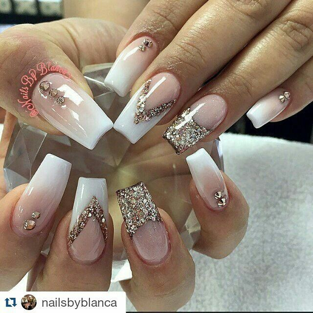 Pin By Pinterest Ing On Get Nailed Bling Nails Rhinestone Nails Ombre Acrylic Nails