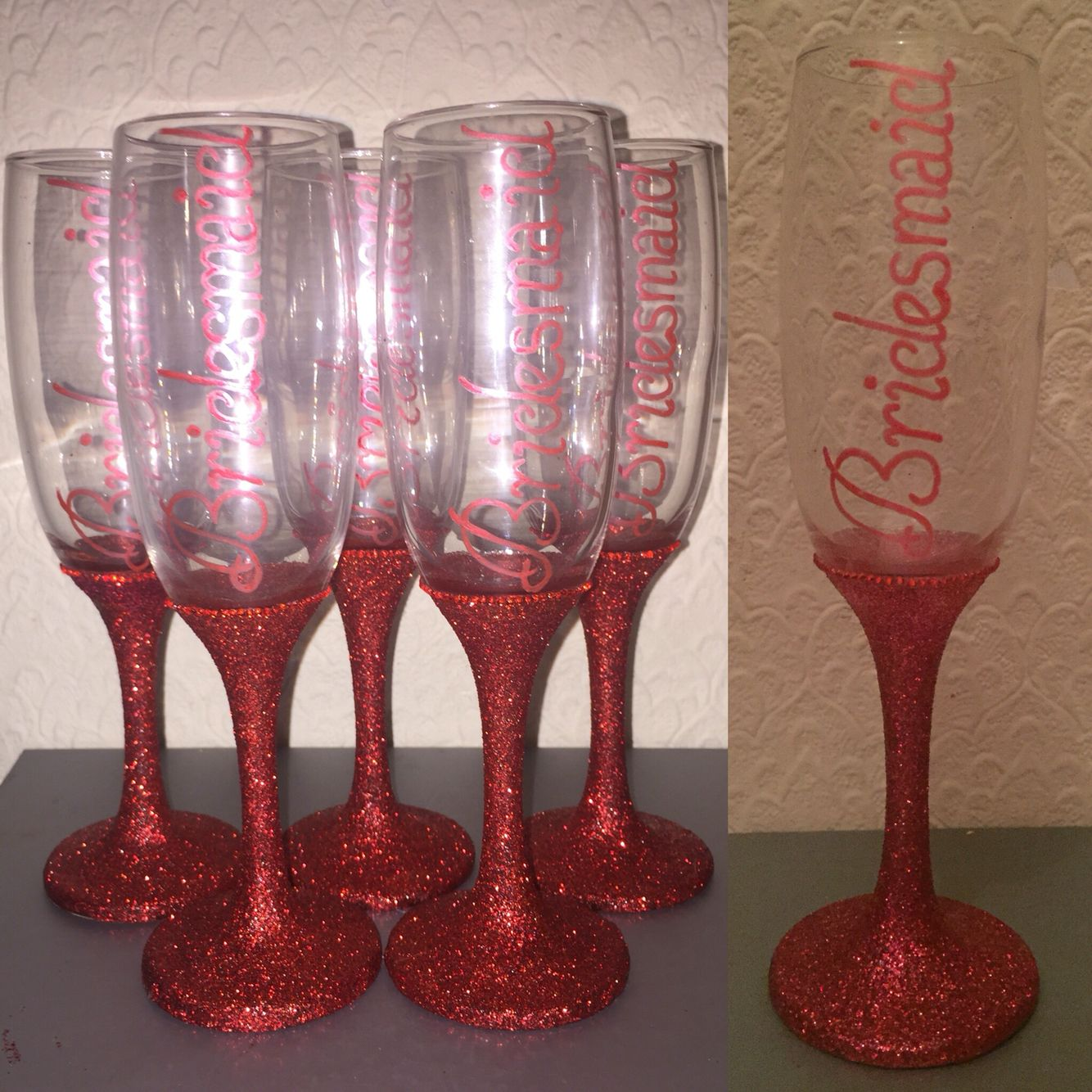 DIY bridesmaid glitter glasses