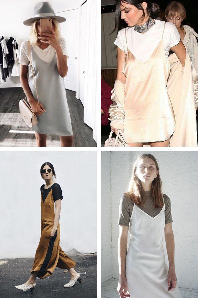 d8e853854a5e7 Vestidos lenceros con camiseta debajo. Temporada otoño invierno 2016-2017