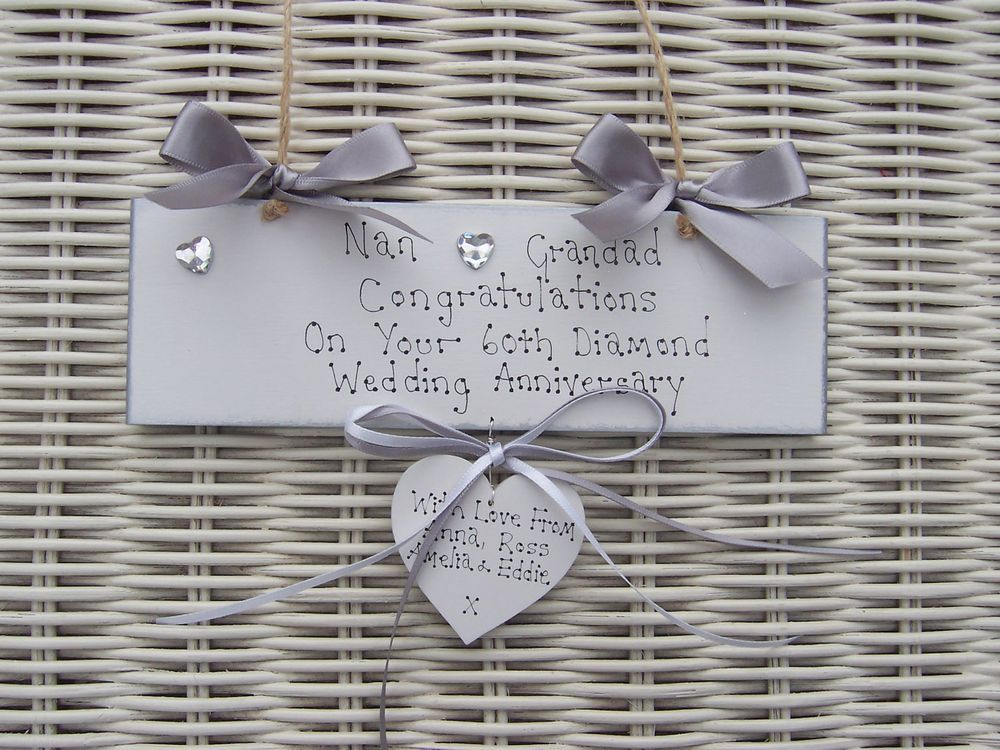 Personalised Wedding Anniversary Diamond Gift Mum Dad Grandma ...