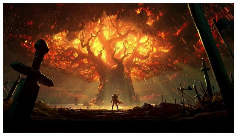 World Of Warcraft Canvas Wow Teldrassil On Fire Battle For Etsy World Of Warcraft Characters World Of Warcraft World Of Warcraft Wallpaper