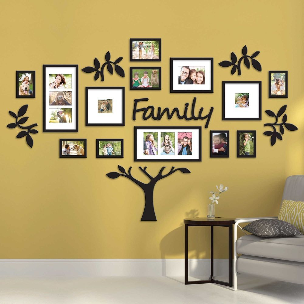 Hallway family tree collage picture photo wall art large for Hallway wall decor