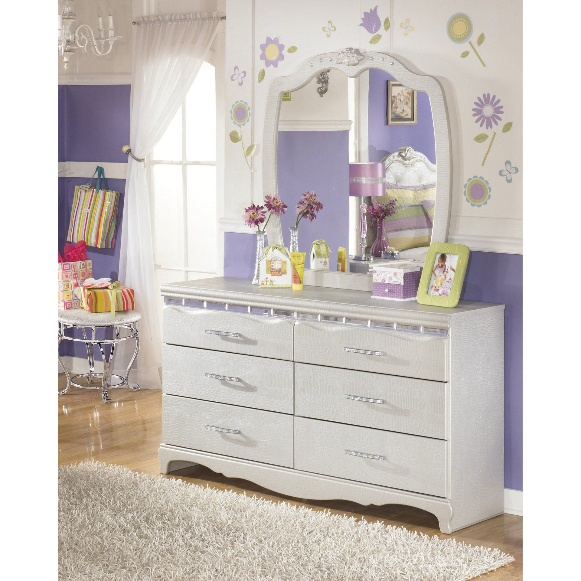Furnituremaxx Julia Girl S Bedroom Silver And Pear Dresser Mirror