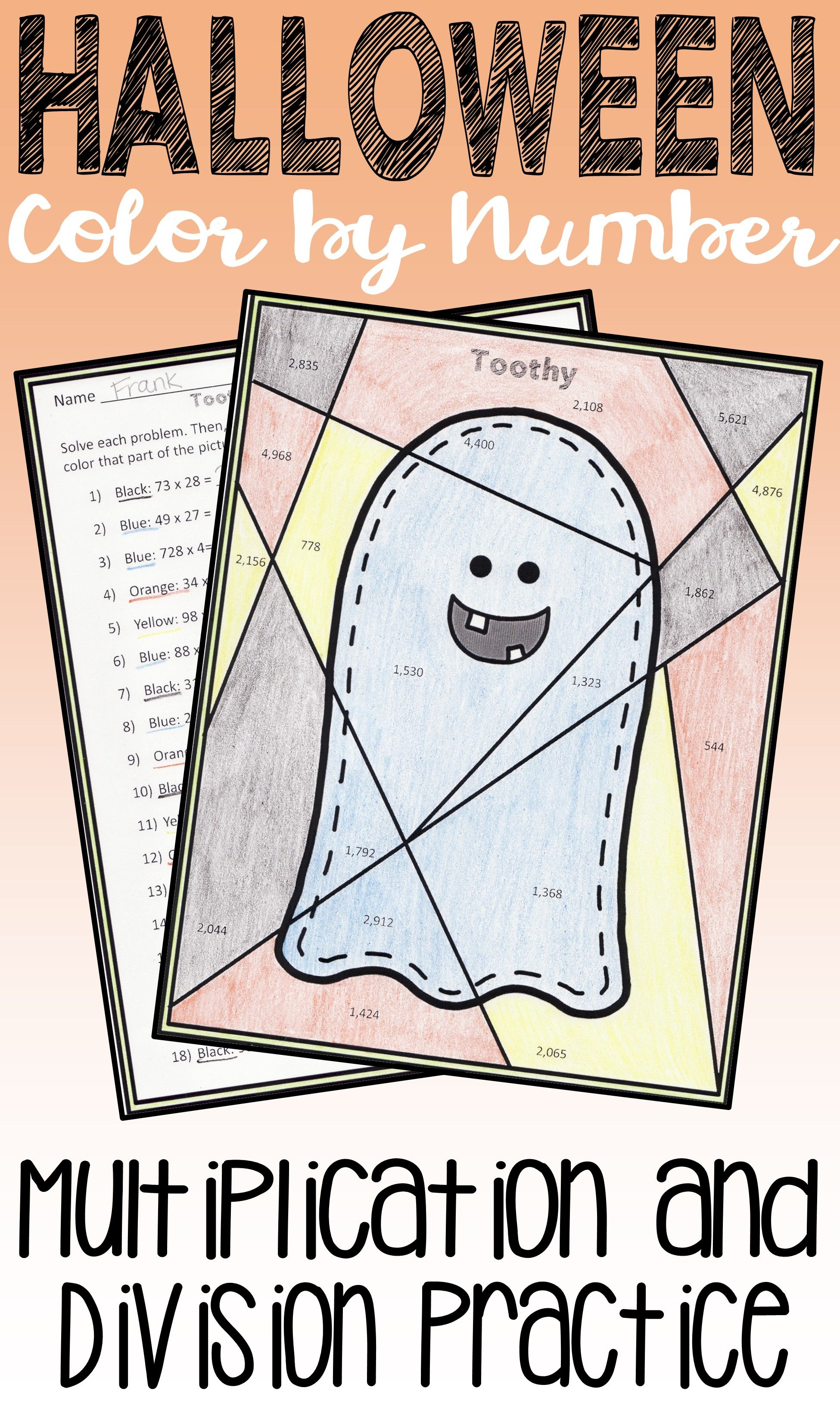Halloween Math: Multiplication and Division Color by Number ...