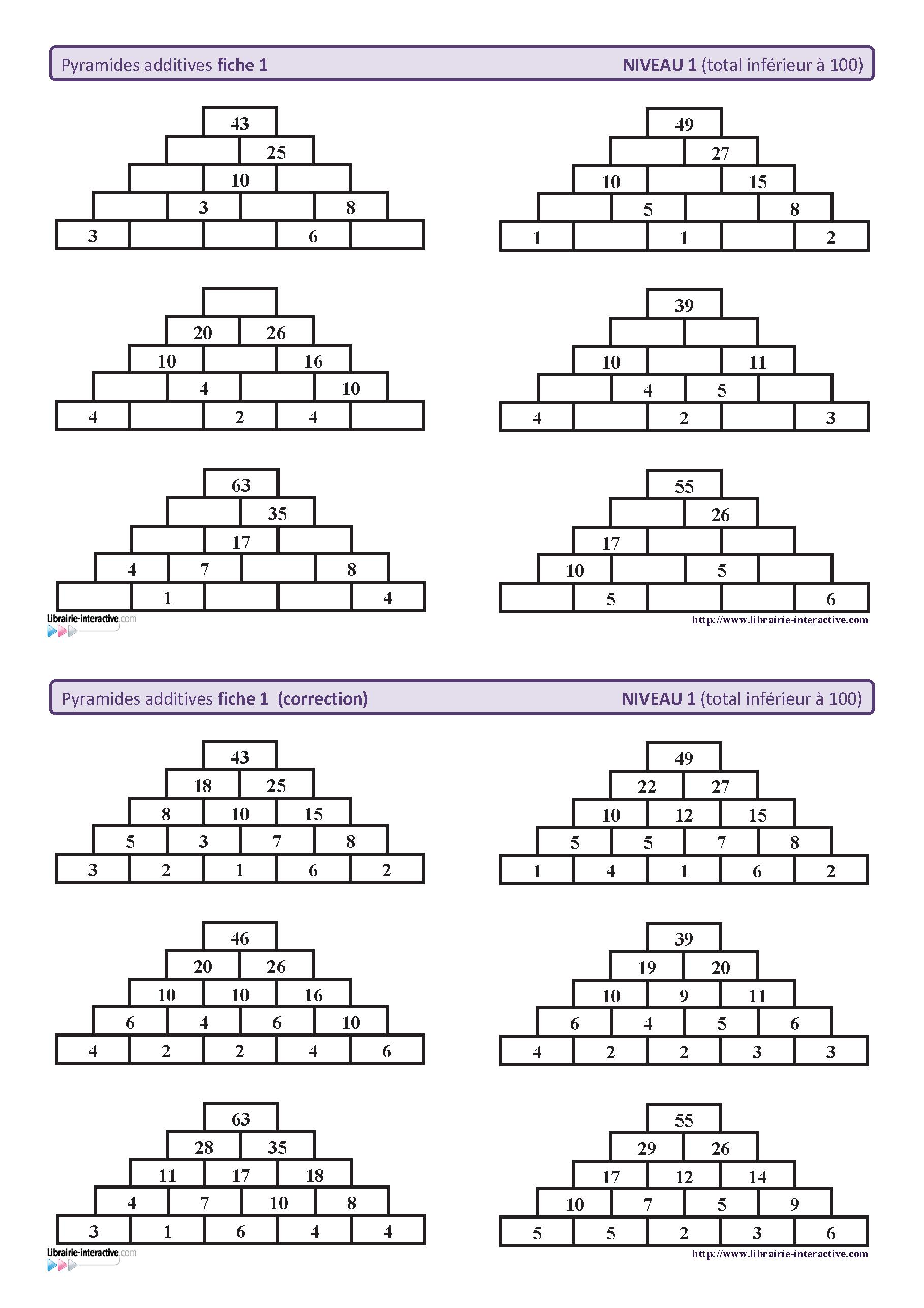 10 fiches autocorrectives avec des pyramides additives de niveau 1 ...