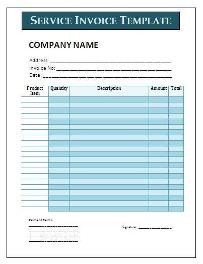 Service Invoice Template Invoice Templates Pinterest - free printable service invoice template