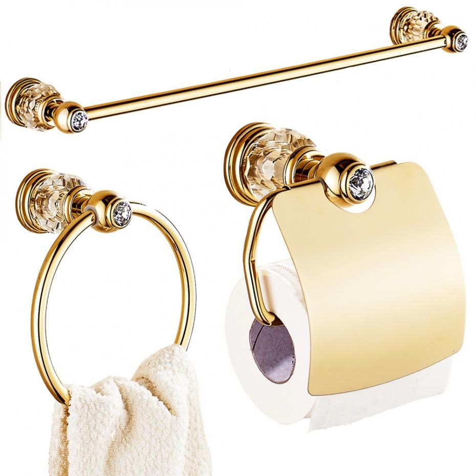 Europe Gold Polished Bathroom Accessories Sets 3 Pieces ...