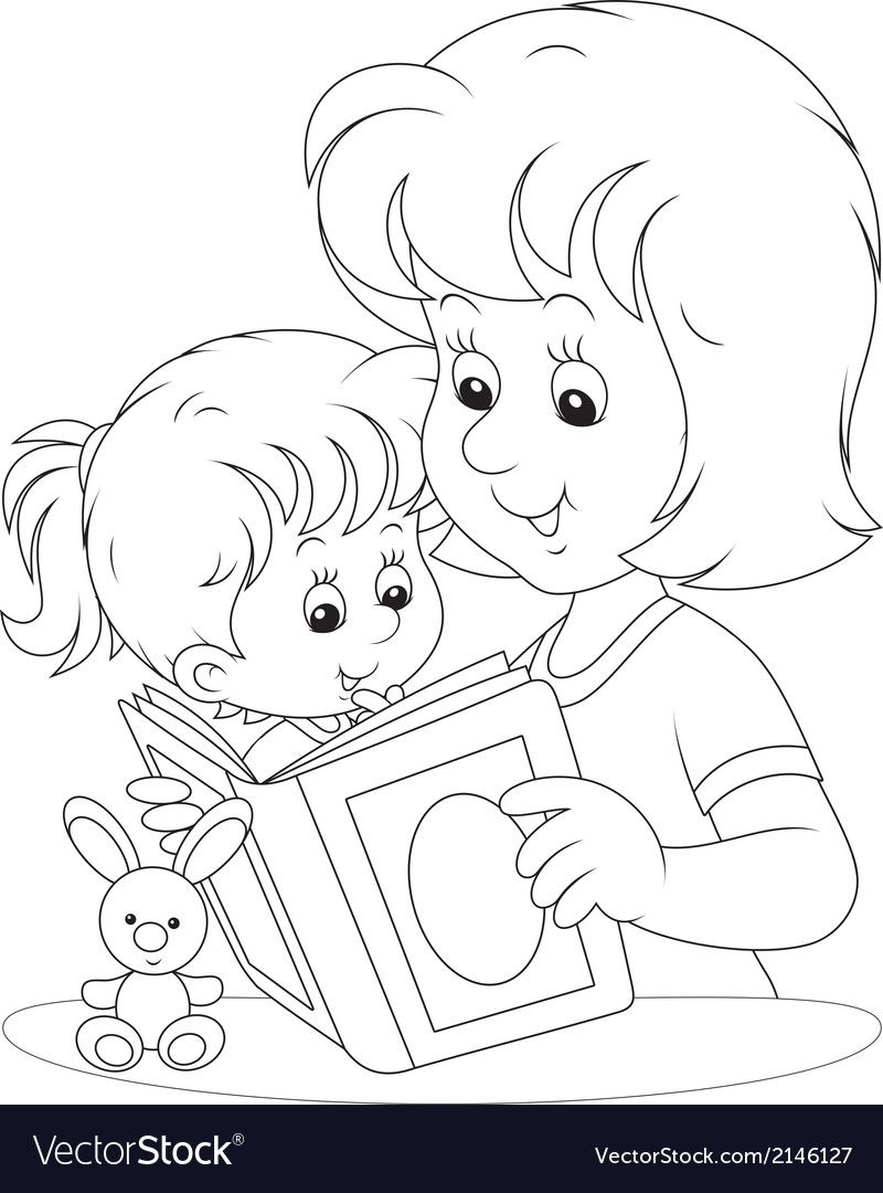 Mother And Daughter Reading Vector Image On Vectorstock Cute Coloring Pages Coloring Pages Winter Sports Coloring Pages