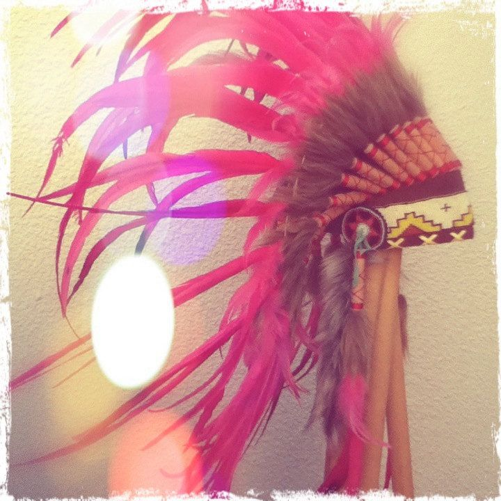 Bright Pink Feather Headdress. $75.00, via Etsy.