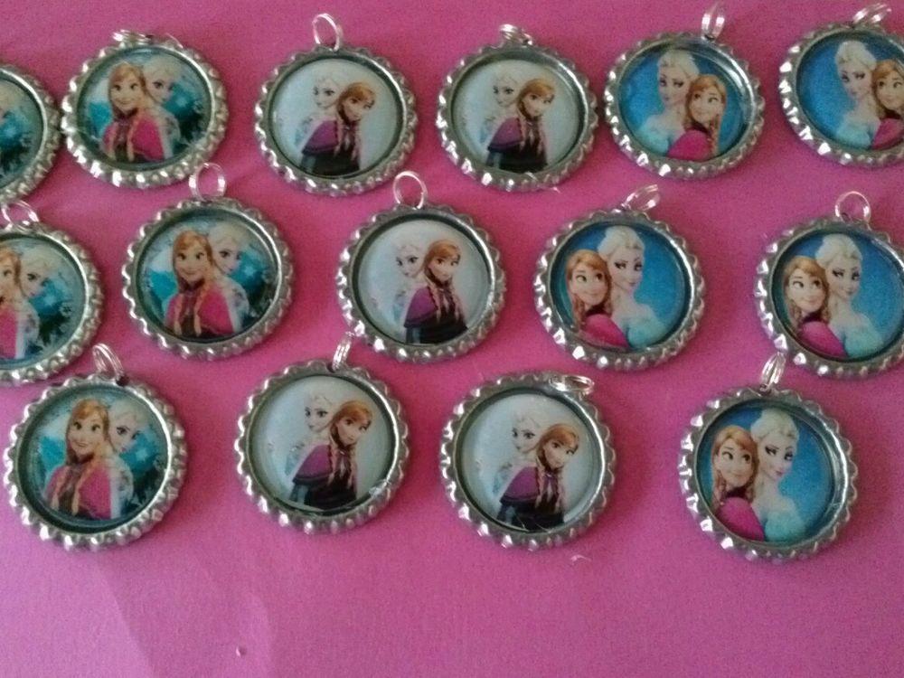 15 Disney Frozen Elsa & Ana Bottle Cap NECKLACE for Birthday, Party Favor set #HandMade #BirthdayFilledBagsGifts