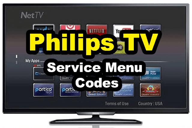 philips lcd led tv service menu codes