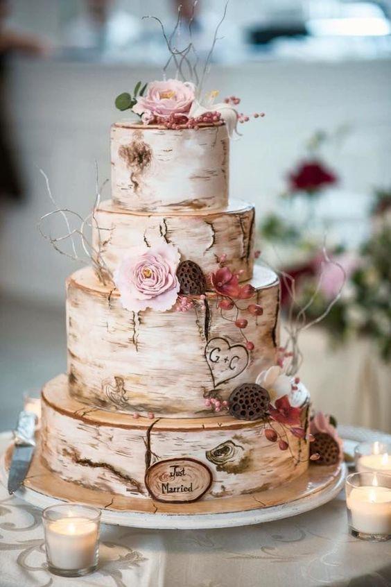 65 Awesome Herbst Hochzeitstorte Ideen --- Vintage Birke Hochzeitstorte diy Proben   - Wedding Cakes #fallweddingideas