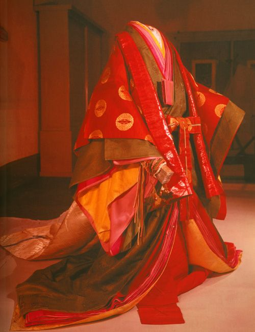 Modern reproduction of a juni-hitoe in the Heian period (794-1185). It is a Japanese clothing.