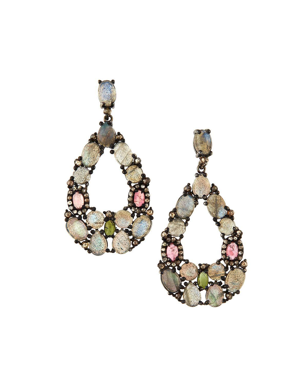 Bavna Labradorite, Tourmaline & Diamond Teardrop Earrings, Women's, Chalcedony
