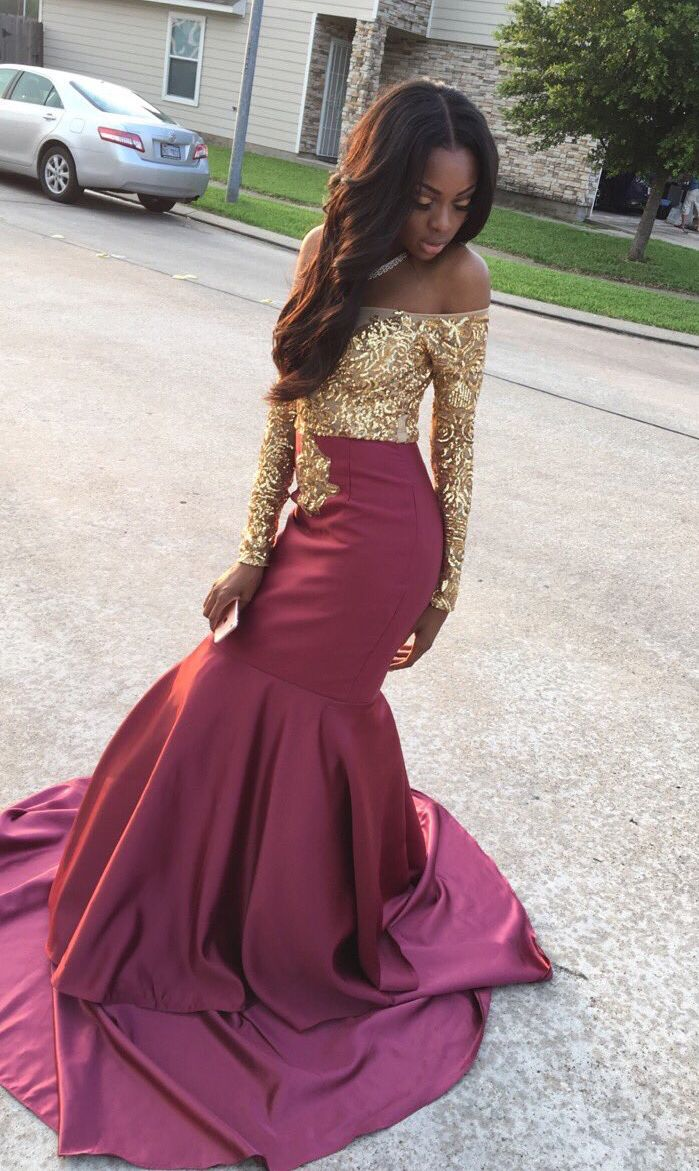 Burgundy prom dressgold bodice prom dressmermaid style evening
