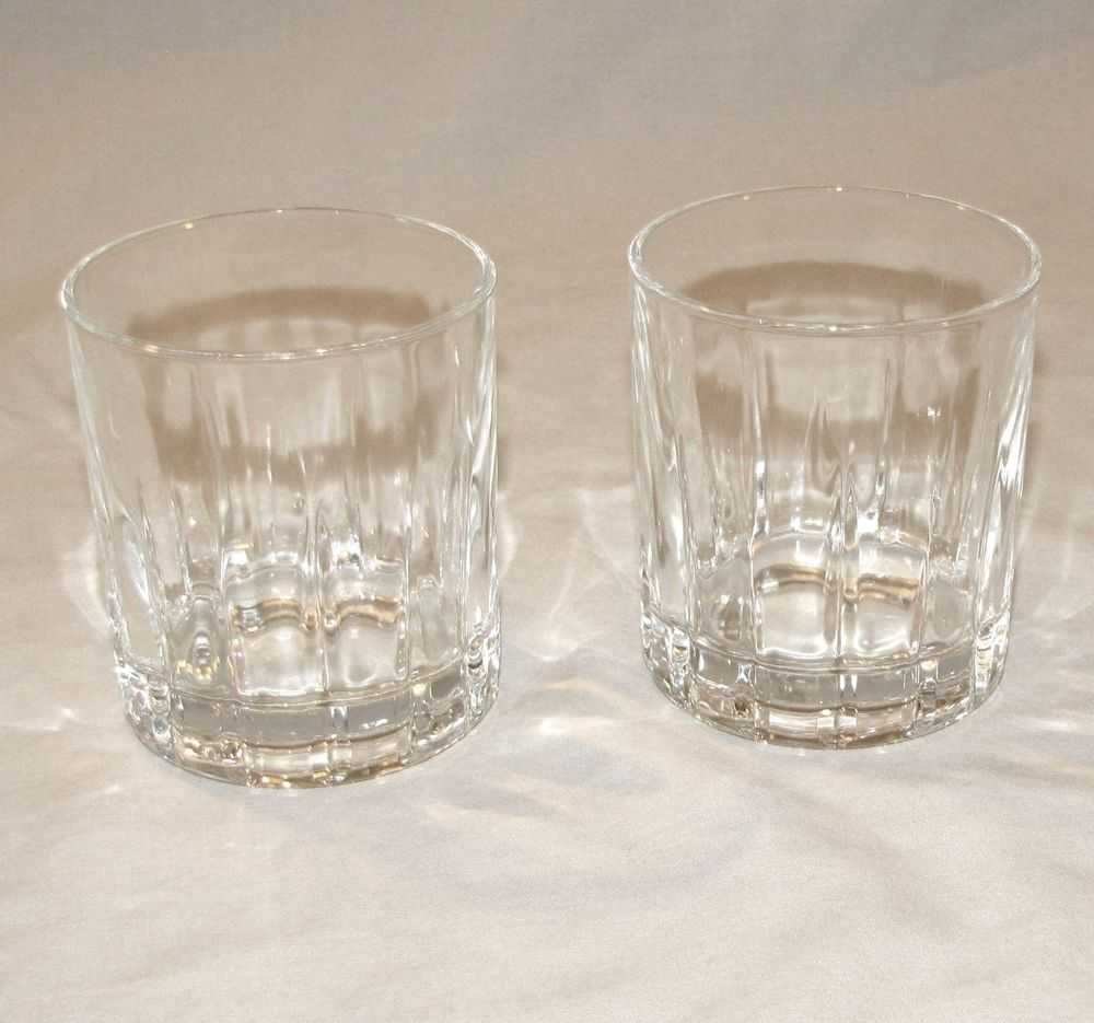 Old Fashion Rocks Glasses Faceted Clear Heavy Glass Vintage Barware Set Of 2