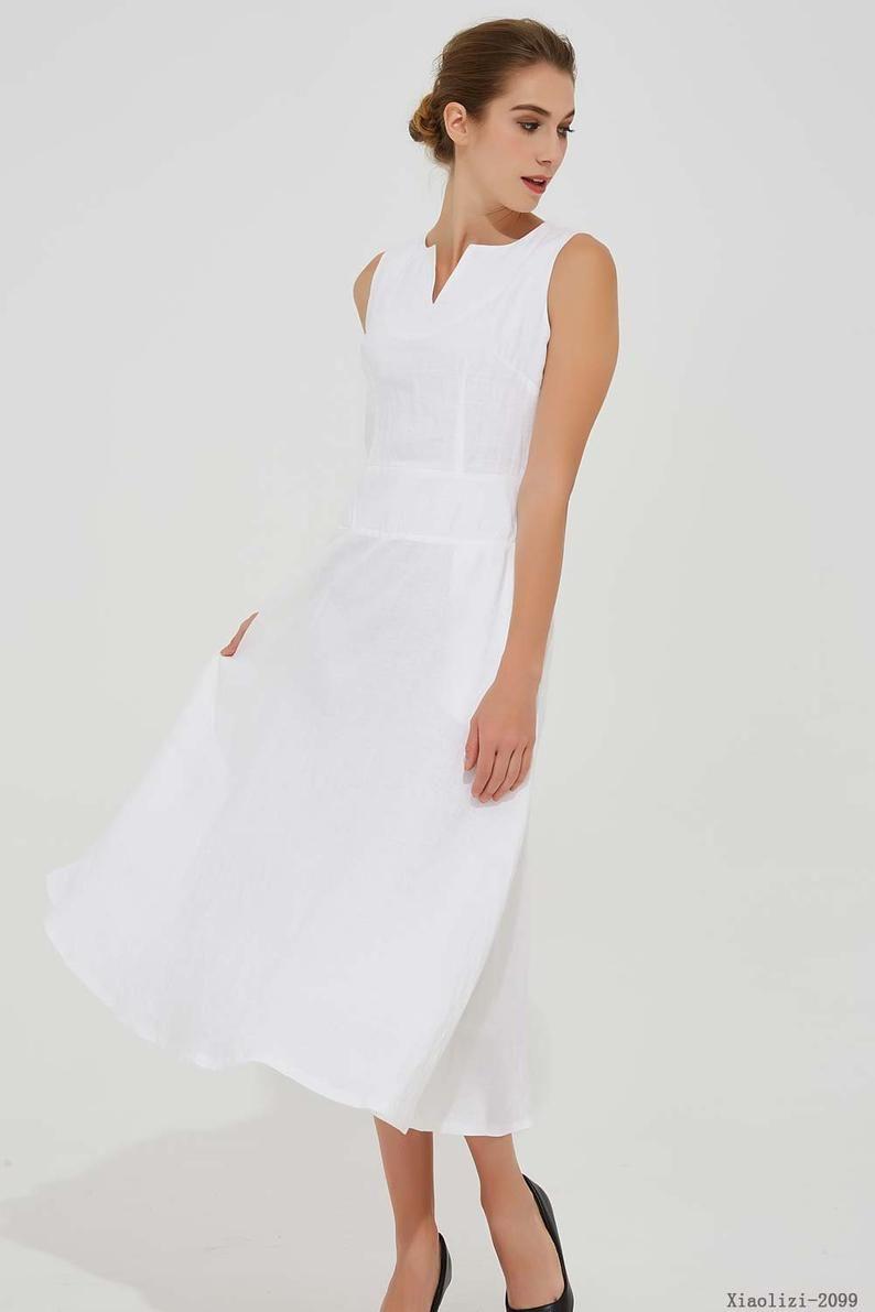 Linen Dress Pockets White Dress Women Summer Dress Etsy In 2020 White Linen Dress Summer Summer Dresses White Dresses For Women