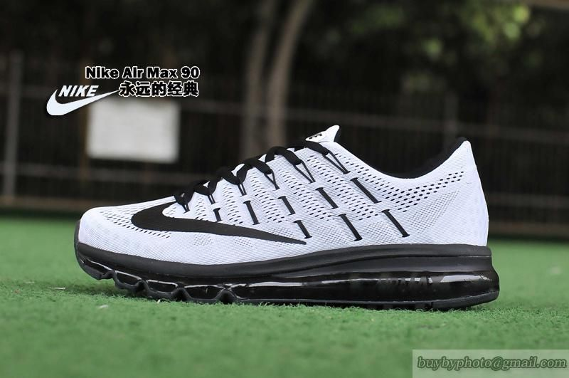Men's Nike Air Max 2016 Black White Grey Sneakers : O25z3034