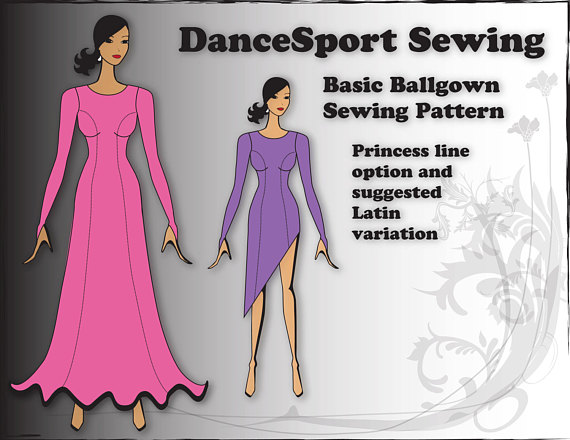 45365424e Basic Ballroom Gown Sewing Pattern, PRINTED Version, plus free Manual