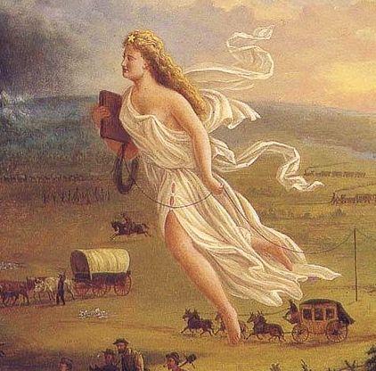 détail d'un tableau allégorique de John Gast, datant de 1872
