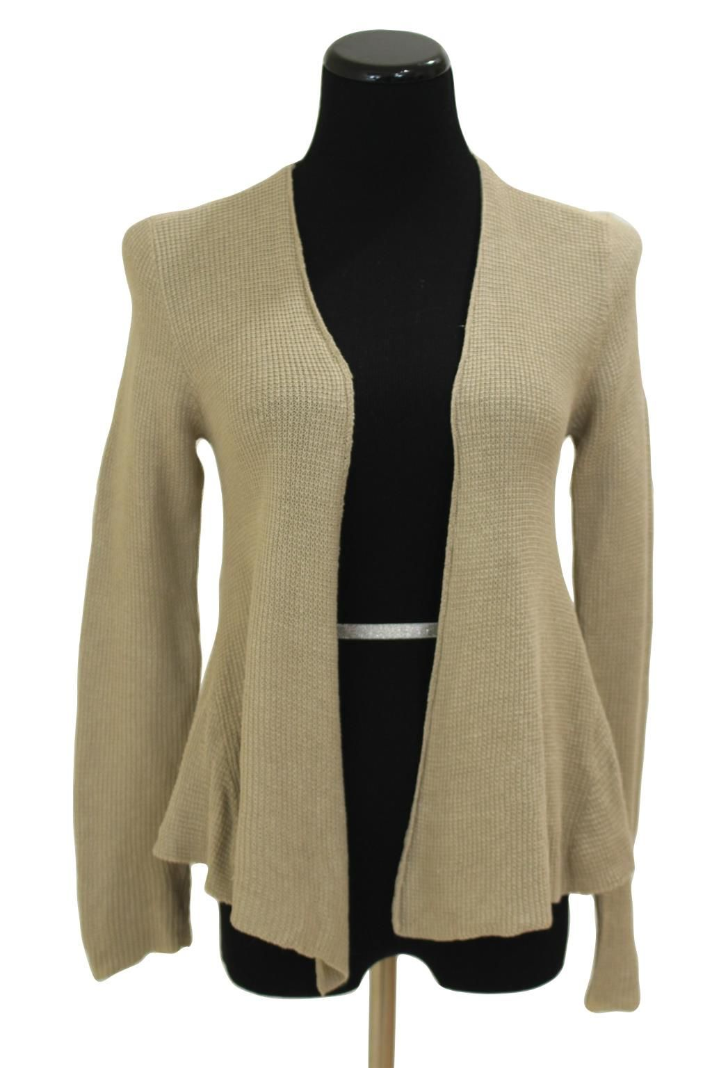 Eileen Fisher Beige Cascading Open Front Cardigan Sweater Size PP