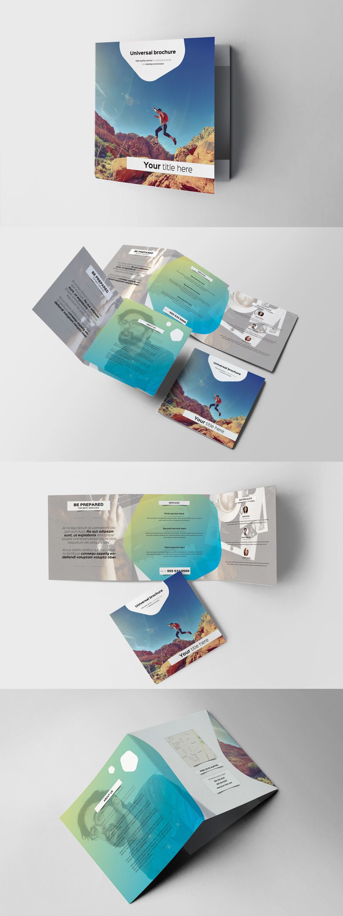 Color Square Trifold Brochure Template Adobe InDesign INDD ...