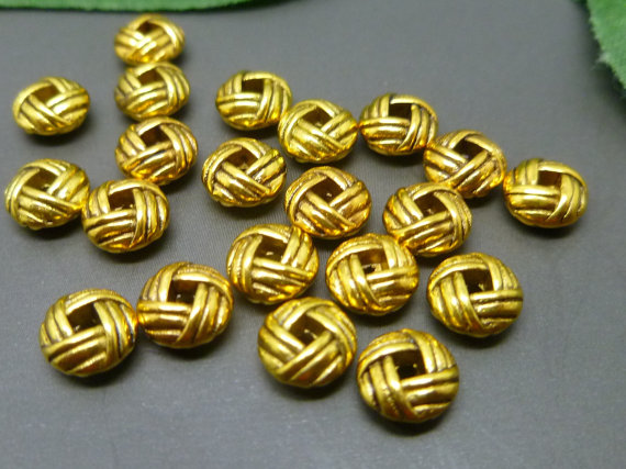 50pcs 6mm Gold Plicated Round Shape Metal Brass Alloy Loose Spacer Beads