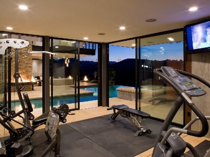Hollywood hills architectural masterpiece fitness home gym
