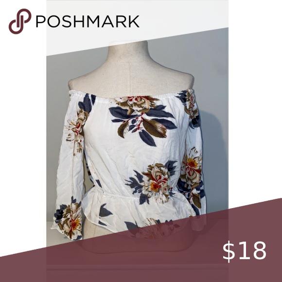 Photo of Cold Shoulder Flower Shirt NWOT NWOT off the shoulder top wi…