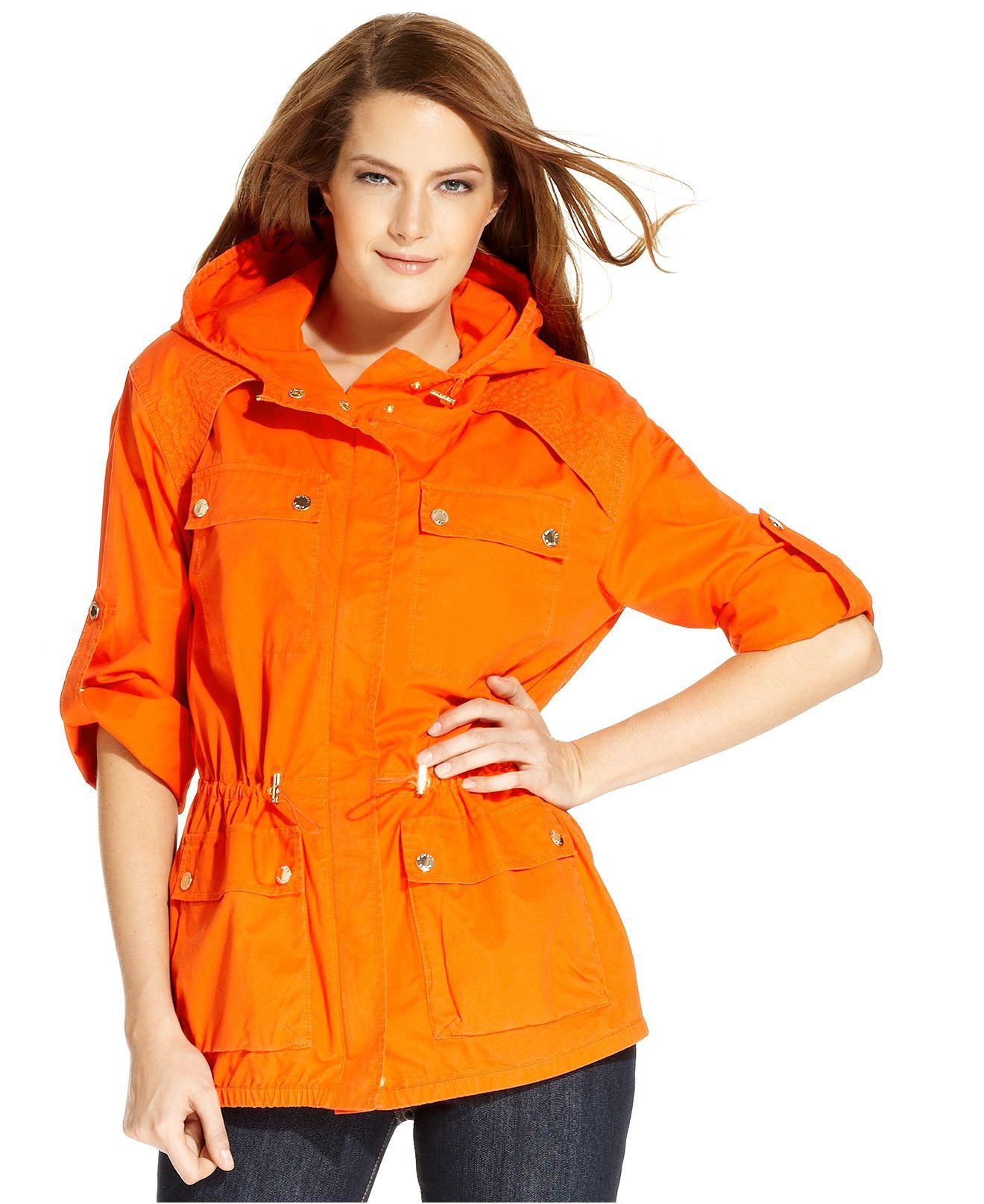 MICHAEL Michael Kor Petite Jacket, Hooded Drawstring