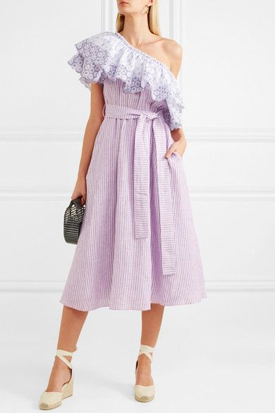Off-the-shoulder Broderie Anglaise-trimmed Striped Linen Dress - Lavender G Buy Cheap Wide Range Of Pre Order Free Shipping Inexpensive Wide Range Of Online MD35URNq