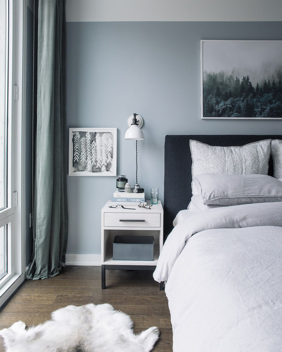 A Light Gray Blue Paint Color Is An Easy Way To Mimic The Sky And Is An Encouraging Color To Use I Light Blue Bedroom Grey Bedroom Design Master Bedroom Colors