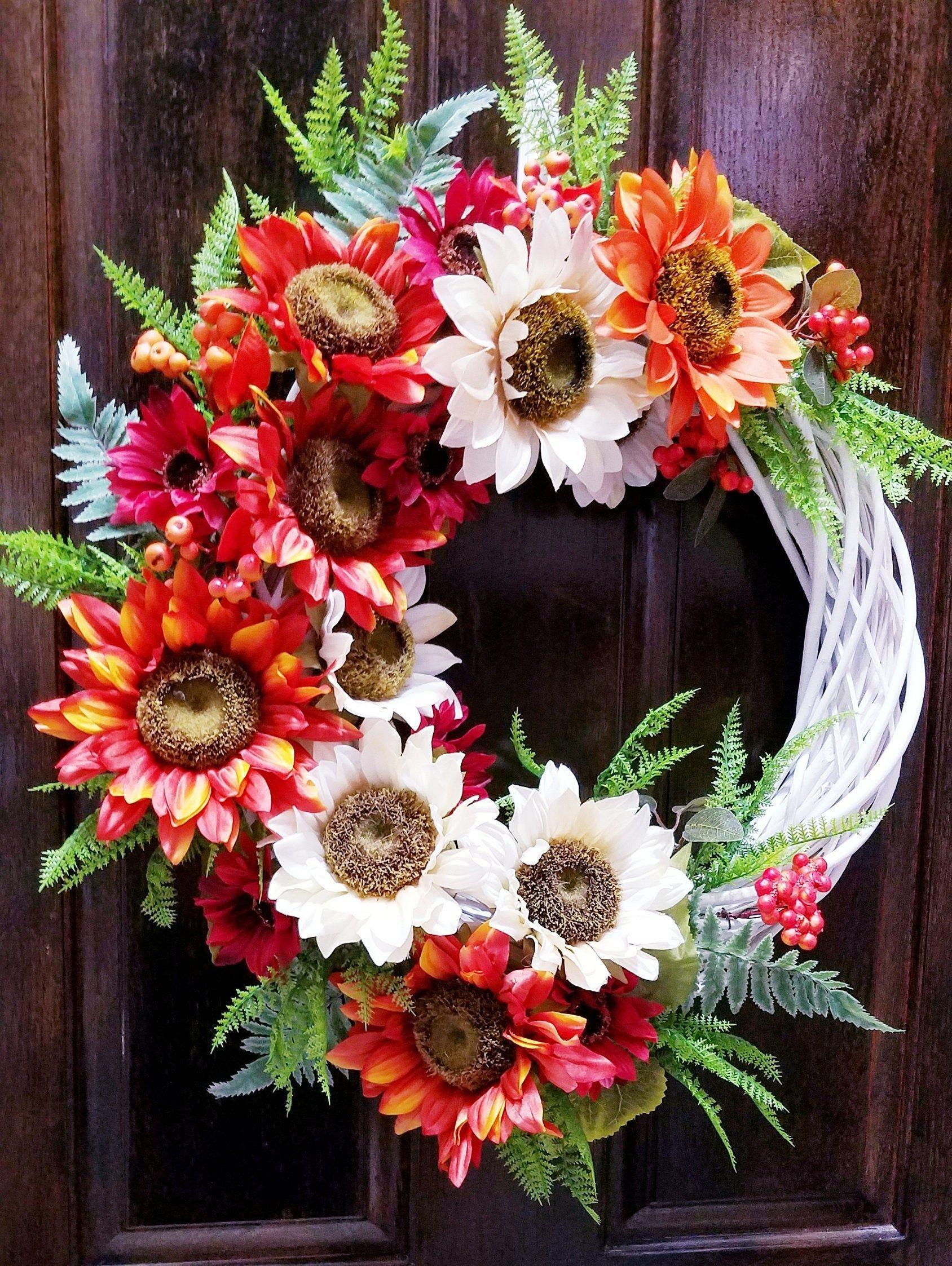 Sunflower Wreath, Summer Door Decor, Gift For Moms