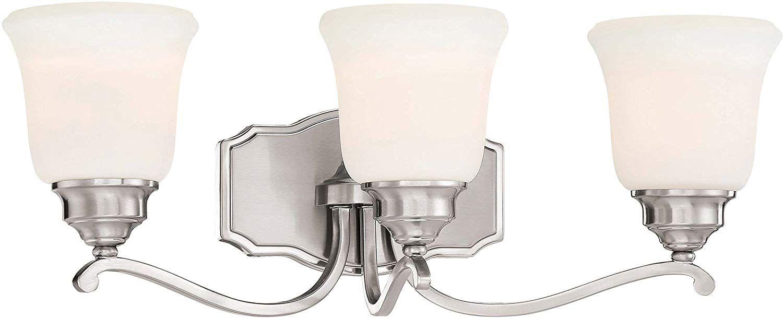 Photo of Minka Lavery Wall Light Fixtures 3323-84 Savannah Row Wall Bath Vanity Lighting, 3-Light 300 Watts, Brushed Nickel
