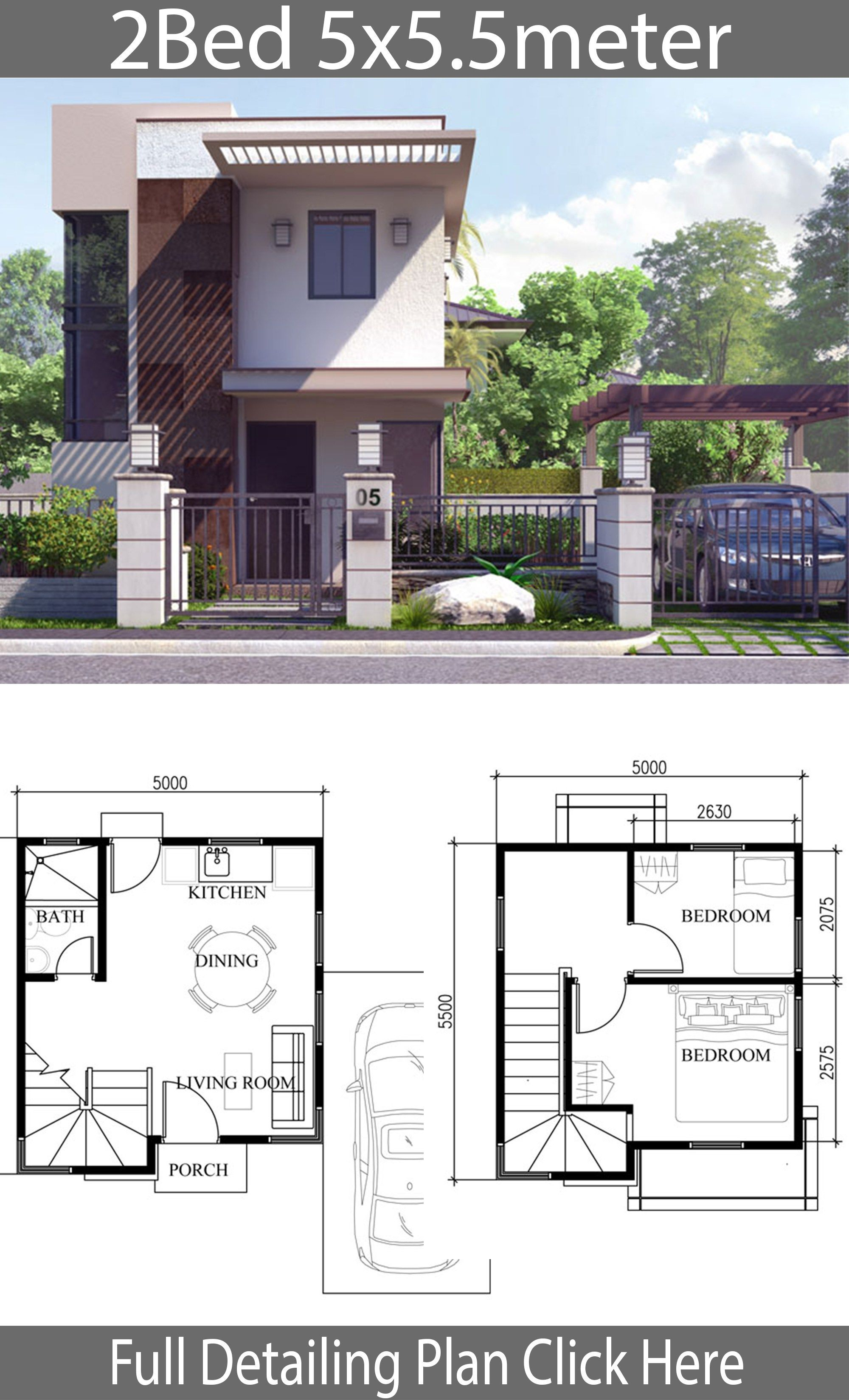 Small Home Design Plan 5x5 5m With 2 Bedrooms Rumah Indah
