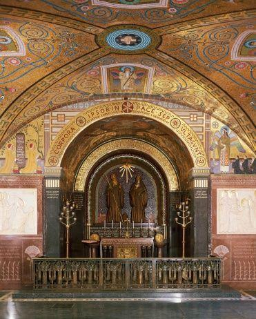 Bronze statues of Saint Benedict and Saint Scholastica in crypt of Montecassino Abbey, Benedictine monastery, Lazio, Italy