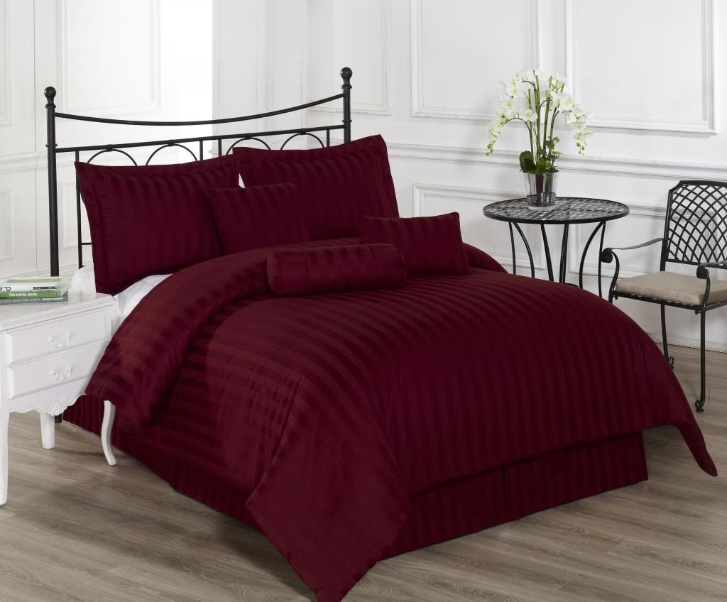 Royal Calico BURGUNDY 7pc Comforter set Damask Stripe 100% Cotton Full Q,  K, CK