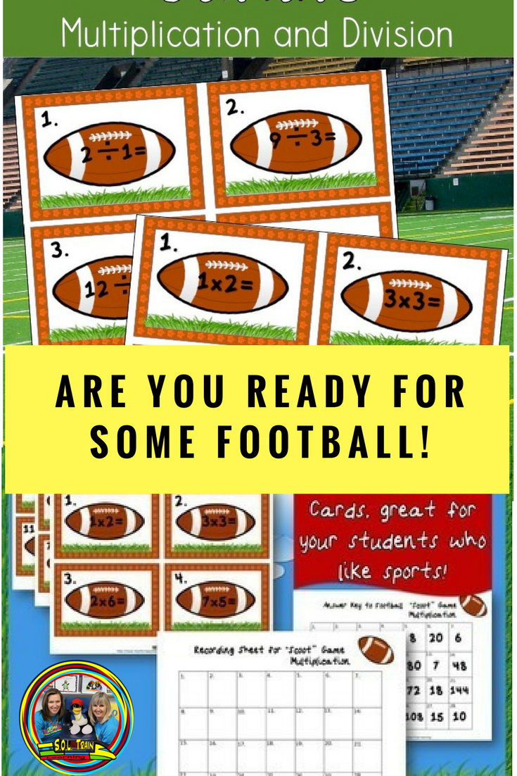 Your Students Will Love Playing This Math Game With Cool Football Cards Especially With The Super Bow Fun Math Centers Multiplication And Division Math Scoot [ 1102 x 735 Pixel ]