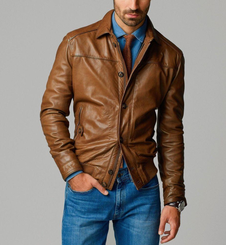 Men Leather Jacket Brand New 100% Genuine Soft Indian Lambskin ...