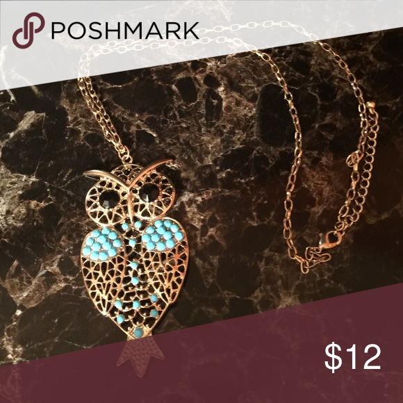 Owl necklace Gold necklace with owl. Turquoise and black stone accents. Jewelry Necklaces