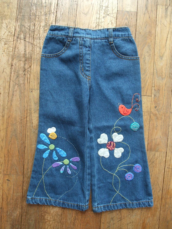 jeans d cor et brod main pour enfant motifs fleurs mode filles par les3sardines. Black Bedroom Furniture Sets. Home Design Ideas