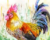 ooak-Original Watercolor Rooster in 8x10- Rooster Portrait.  Please, stop by and check out this wonderful shop!  Thanks!