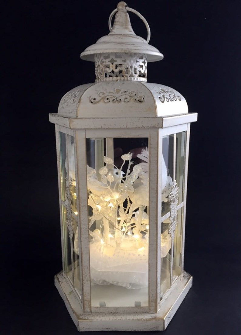 Personalized Wedding Lantern, White Doves, Wedding