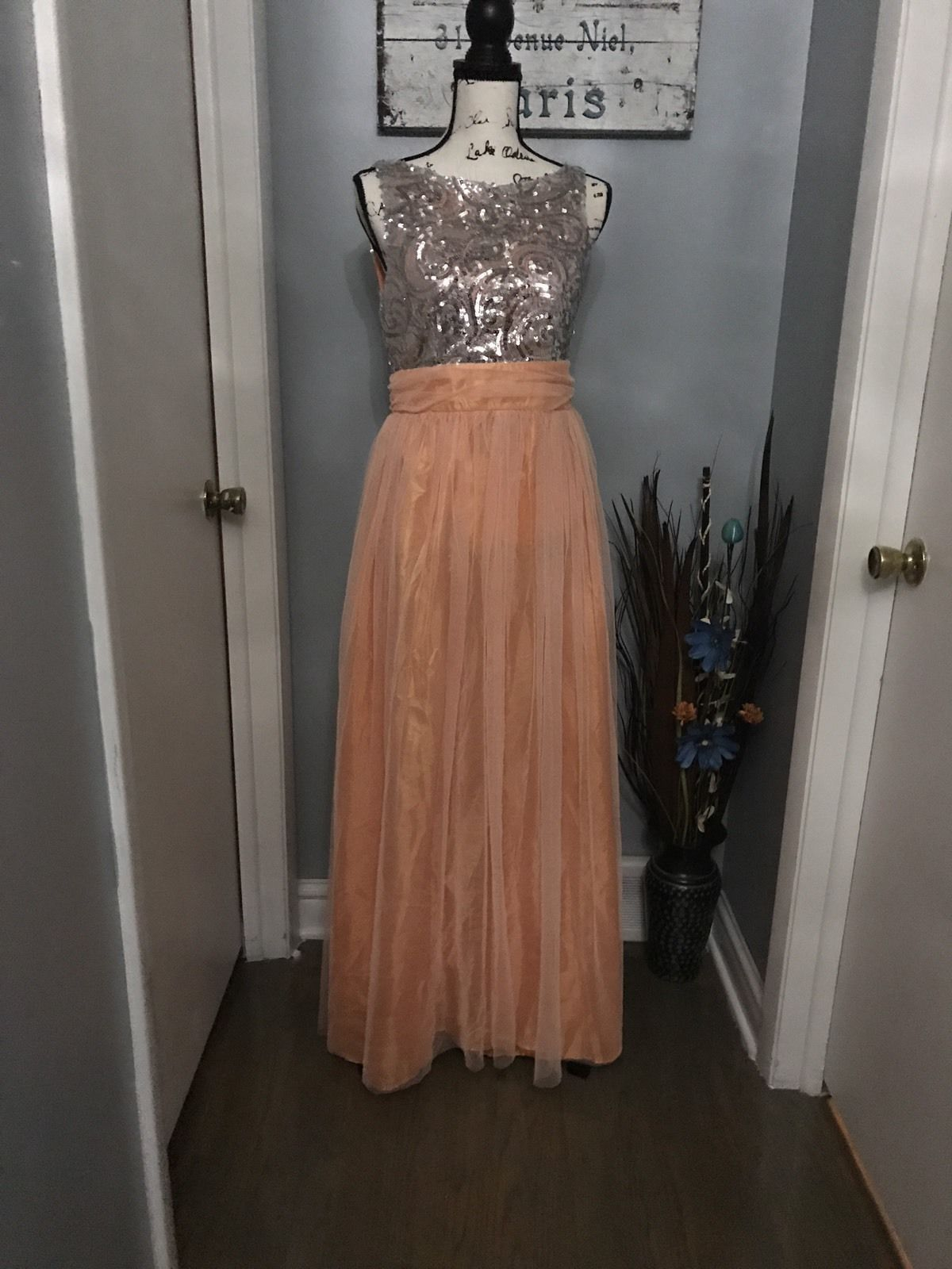 Cool womenus coral evening formal long party dress wedding size l