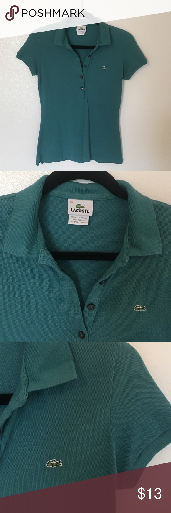 LACOSTE 🐊 Polo Shirt Basic polo five button shirt. No stains, no deodorant stains. Comfortable wear. Fits like an XS. Lacoste Tops Tees - Short Sleeve