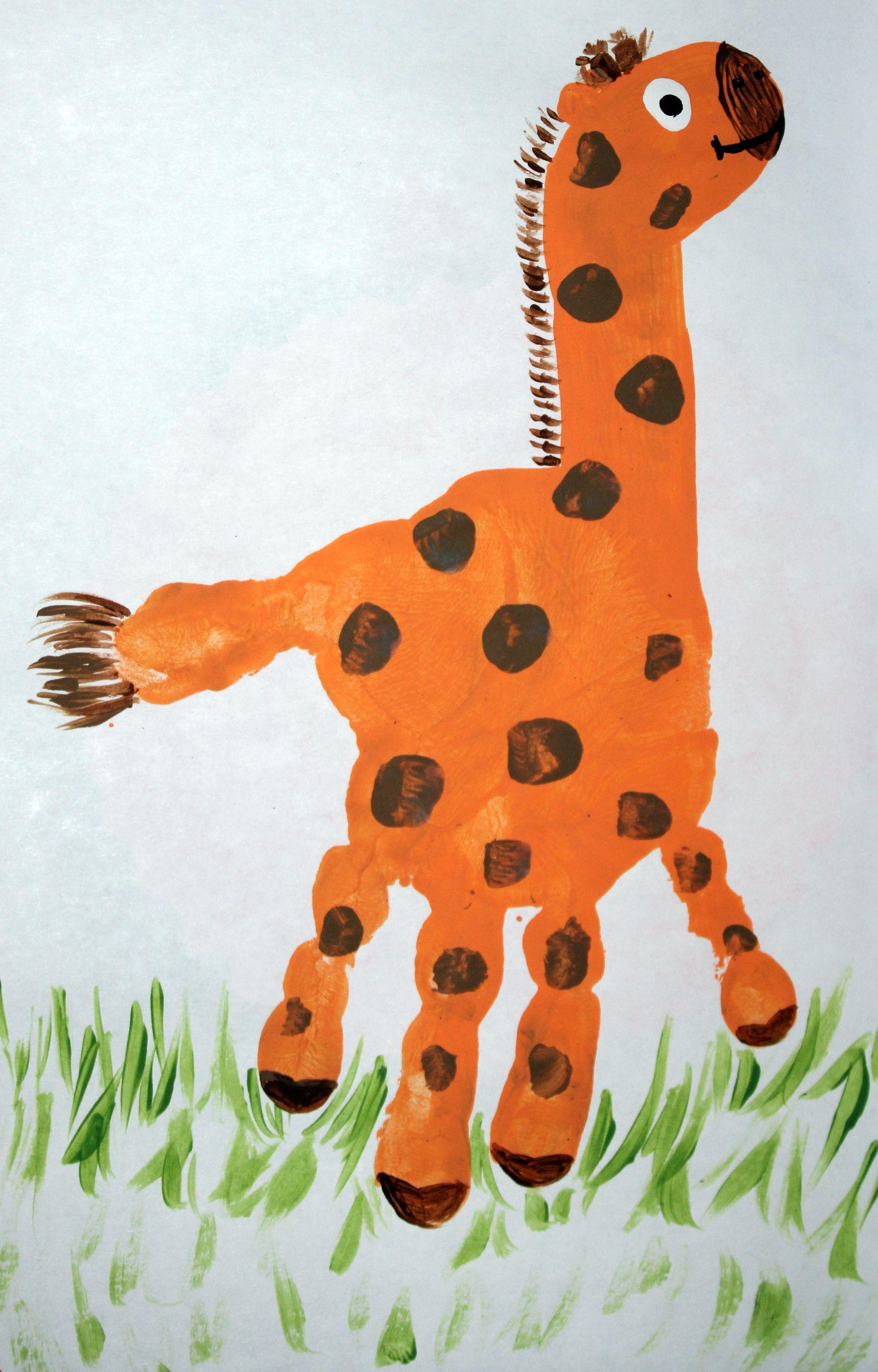 Thanksgiving Crafts Tiny Prints Giraffe Hand Print Ashlyn